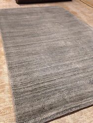 Modern Spectacular Gray Texture 8and039 X 10and039 Wool Solid Area Rug Woven Elegant Gabeh