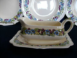 Crown Ducal Gainsborough C1929-gravy Boat And Plate-berry/blue Flowers- Excellent