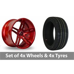 4 X 20 Axe Ex20 Candy Red Alloy Wheel Rims And Tyres - 255/35/20