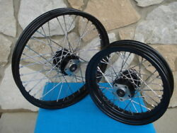 21 And 16 Black Rim Hub Front / Rear Wheel Set Harley Softail Fxst Fxdwg 1984-99