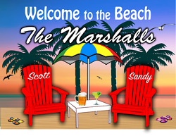 Personalized Beach Sign Welcome to Our Beach Beach House Campsite $20.99
