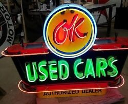 New OK USED CARS Double-Sided Painted Enamel Sign with Neon 58