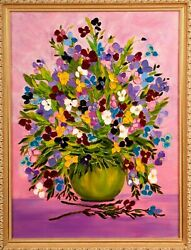 View Flowers 2013 Artist Tanya Blons Canvas Oil 22 X 28 7/8and039 Value 3000