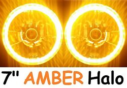 1pr Amber 7 Round Led Headlights Lights Fits Land Rover Series 1 2 2a 3