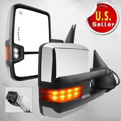 Power Heated LED Turn Signals Towing Mirrors for 99-02 Chevy Silver