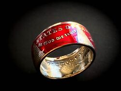 Lower Price Living History -morgan Silver Dollar Coin Ring - .900 Silver Red Pc