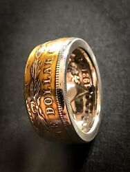 Lower Price Living History -morgan Silver Dollar Coin Ring-.900 Silver Gold Pc
