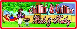 Chillin' And Grillin' Personalized Backyard Sign With Hammock, Bbq Grill C1041