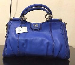 NWT Coach Madison Pinnacle Zig-Zag Perforated Carrie Satchel Cobalt F23745