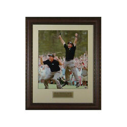 Phil Mickelson 2004 Augusta Masters Victory Jump 2 Pose 11x14 Leather Framed