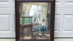 Antique 1919 German School Oil On Canvas Girl And Parrot By Robert Panitzseh