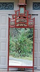 Impressive Antique 19c Rosewood Chinese Carved Temple Mirror 89x34 Arched Top
