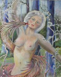 Original Nude Oil Painting Signed By Ellen Dieter, Fantasy Eve, 36x48 Inches