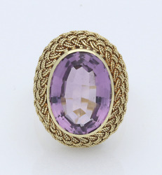 20th Century 18ct Gold Amethyst Solitaire Dress Ring