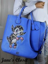 COACH Gary Baseman Limited Edition Buster LeFauve Tatum Leather Tote Periwinkle