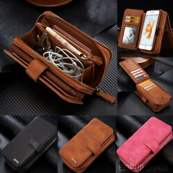 Removable Luxury Leather Zipper Wallet Flip Card Case Cover For Samsung And Iphone