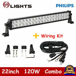 22inch 120w Led Light Bar Spot Flood Beam Atv Driving Off Road With Wiring Kit