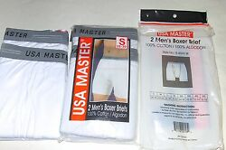 4 Pairs Mens USA Master 100% Cotton Fly Front White Boxer Briefs SIZE Small Med
