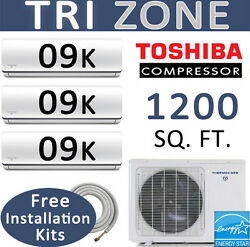22 SEER Tri Zone Ductless Mini Split Air Conditioner: 9000 BTU x 3  25ft Kits