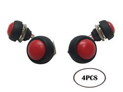 Pactrade Marine 4 Pcs Boat/car 12mm Red Round Push Button Momentary On-off