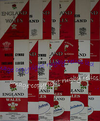 England V Wales Home And Away Rugby Programmes 1970 To 1989 Good+ Condition