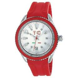 Original T10 Maracuja Watch In Silicon , 3 Spheres And Strass T10-c009r, Red