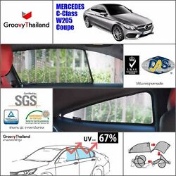 4 PCS SET FOLDABLE MESH CURTAIN CAR SUN SHADE FIT FOR BENZ C CLASS W205 COUPE