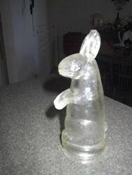 Rabbit With Feet Together, Round Nose Glass Candy Container, Very Hard To Find