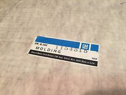 Nos New Genuine Gm Buick Olds Chevy Body Molding Tape Beige 1154515