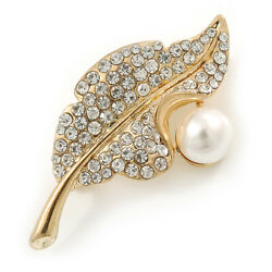 Classic Crystal Pearl Leaf Brooch In Gold Plating - 50mm L