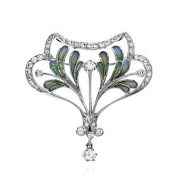 Nouveau 1910 Artic Diamond and Enamel Brooch Pendant in 18KW Gold  FJ