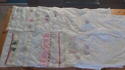 Lot Of 15 Vintage Pillowcases Embroidered Crochet Applique Cottage Shabby Cotton