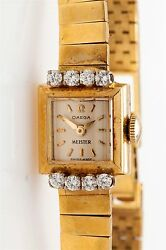 Signed RETRO OMEGA MEISTER 18k Yellow Gold 1940s Ladies Dress Watch 28g
