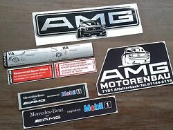 7 rare Mercedes AMG sticker R107 W126 W123 W201 W124 W140 R129 alloy wheels