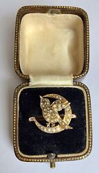 A Lovely Novelty Bird And Moon Crescent Pearl Ring Circa 1800andrsquos