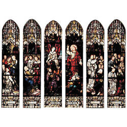 A Very Fine German 6-Panel Stained Glass Mirrors by Mayer of Munich Signed