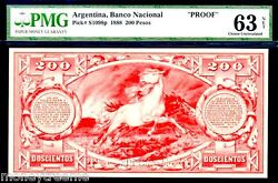 Argentina Ps1098p 1888 Stallion Horse 200 Pesos Pmg 63 Only 1 Known Pop Top