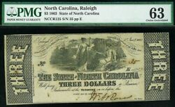 1863 Raleigh Nc 3 State Of North Carolina Obsolete Note Pmg Choice Unc 63