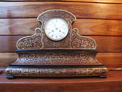 Antique Boulle-type Mantel Clock With Marble Bse