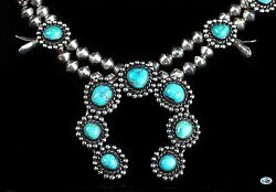 Vintage Signed Andlsquovrandrsquo Native Indian Navajo Sterling Silver Turquoise Necklace