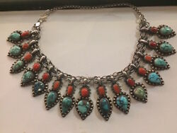 Vintage Turquoise And Coral Boho Chic Bib Collar Necklace--16 Long