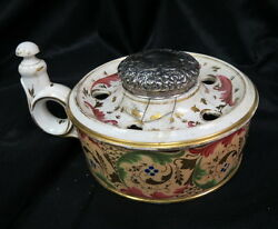 Rare Unmarked Staffordshire Hand Painted Finger Ink Pen Inkwell W/ Sterling Lid