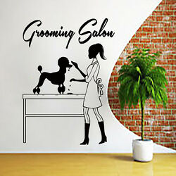 Dog Wall Decals Grooming Salon Decal Vinyl Poodle Stickers Pet Shop Dog Art Ah1