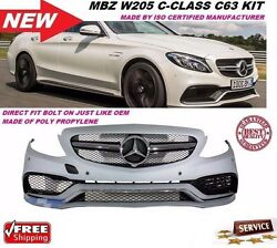 Benz W205 2015-16 C-Class C63 AMG Style Front Bumper Cover With Grille W/ Sensor