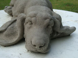 LAZY LAYING DOWN BASSET HOUND DOG STATUE Gray ConcreteCement Memorial Monument