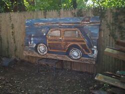 8' Large Country Squire Woody Wagon Surfboard Buggy Beach House Cafe Painting