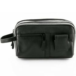 Sonnenschein Toiletry Leather Bag With Manicure Set Mens Shaving Travel Wash Bag