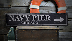 Navy Pier Navy Pier Chicago Navy - Rustic Distressed Wood Sign