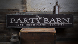 Party Barn, Party Barn Decor, Party - Rustic Distressed Wood Sign