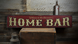 Home Bar Personalized Welcome Family Bar Sign Distressed Wooden Sign